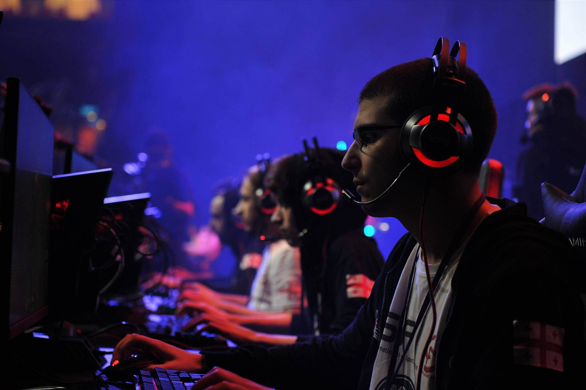 People on a stage for an esport event